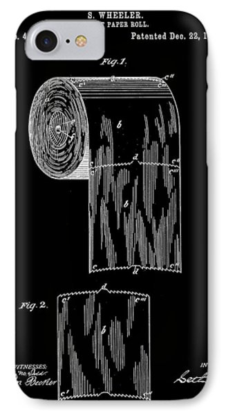 Toilet Paper Roll Patent 1891 - Black IPhone Case by Stephen Younts