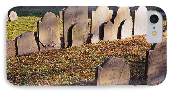 Tombstones In A Cemetery, Copps Hill IPhone Case by Panoramic Images
