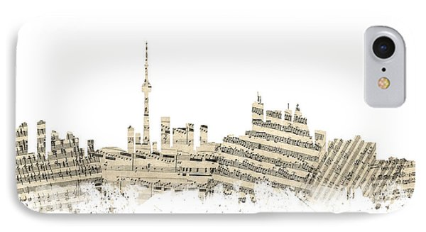 Toronto Canada Skyline Sheet Music Cityscape IPhone Case by Michael Tompsett