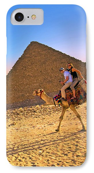 Tourists Ride A Camel In Front IPhone Case