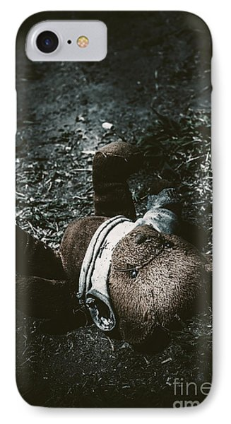Toy Teddy Bear Lying Abandoned In A Dark Forest IPhone Case by Jorgo Photography - Wall Art Gallery
