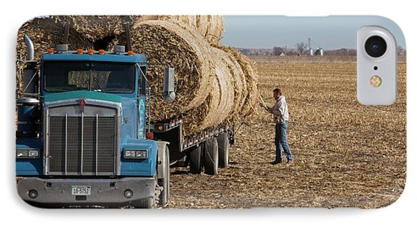 Transporting Bales Of Hay IPhone Case by Jim West
