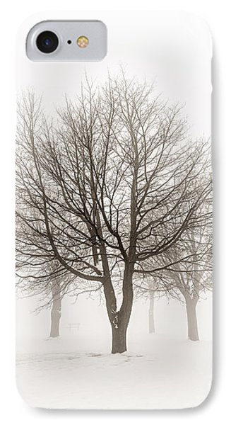 Trees In Winter Fog IPhone Case