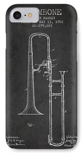 Trombone Patent From 1902 - Dark IPhone Case