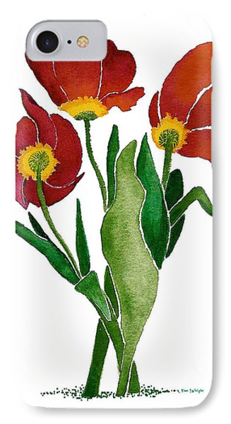 IPhone Case featuring the painting Tulip Trio by Nan Wright