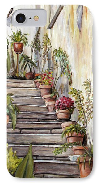 IPhone Case featuring the painting Tuscan Steps by Melinda Saminski
