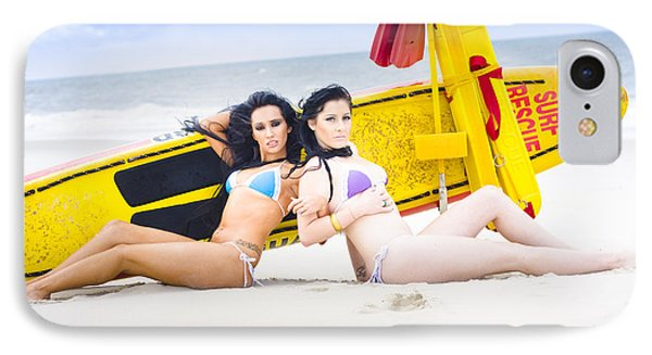 Two Beautiful Women Together On Beach IPhone Case by Jorgo Photography - Wall Art Gallery