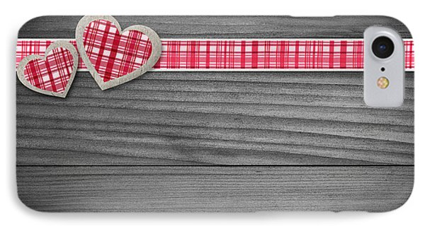 Two Hearts Laying On Wood  IPhone Case by Aged Pixel