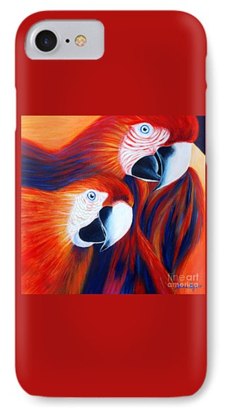IPhone Case featuring the painting Two Parrots. Inspirations Collection. by Oksana Semenchenko