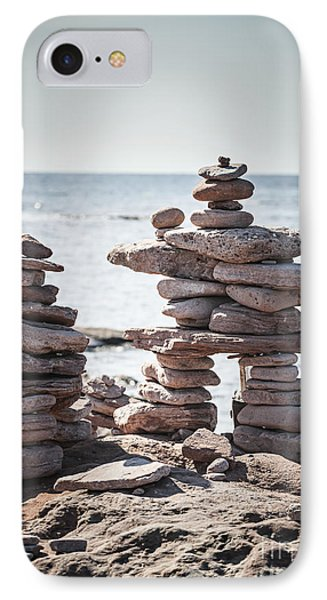 Two Stacked Stone Cairns IPhone Case by Elena Elisseeva