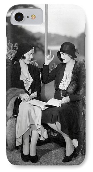 Two Women Talking IPhone Case by Underwood Archives