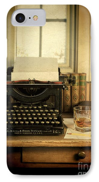 Typewriter And Whiskey Phone Case by Jill Battaglia
