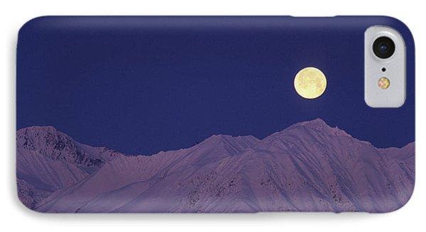 Usa, Alaska, Alaska Range, Full Moon IPhone Case by Gerry Reynolds