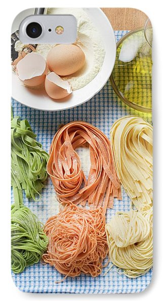 Various Types Of Home-made Pasta With Ingredients IPhone Case