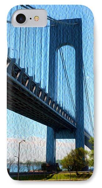 Verrazano Bridge IPhone Case by Boris Mordukhayev