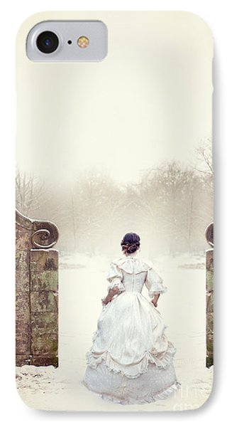 Victorian Woman In Snow IPhone Case