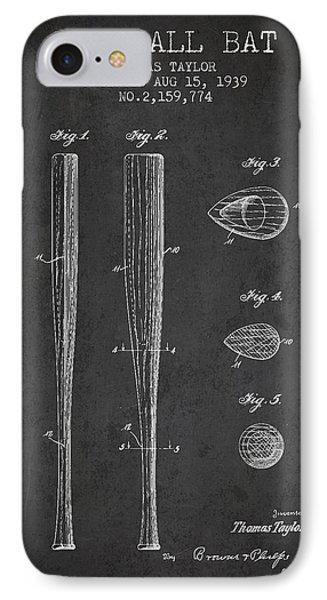Vintage Baseball Bat Patent From 1939 IPhone Case by Aged Pixel