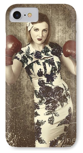 Vintage Boxing Pinup Poster Girl. Retro Fight Club IPhone Case