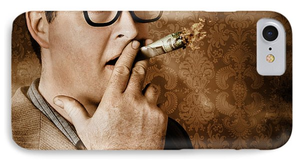 Vintage Business Man Smoking Money In Success IPhone Case