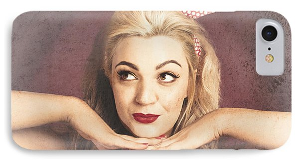 Vintage Face Of Nostalgia. Retro Blond 1940s Girl  IPhone Case by Jorgo Photography - Wall Art Gallery