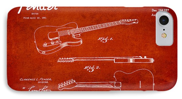 Vintage Fender Guitar Patent Drawing From 1951 Phone Case by Aged Pixel