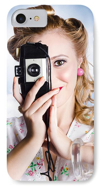 Vintage Film Photographer Taking Outdoor Portrait IPhone Case by Jorgo Photography - Wall Art Gallery
