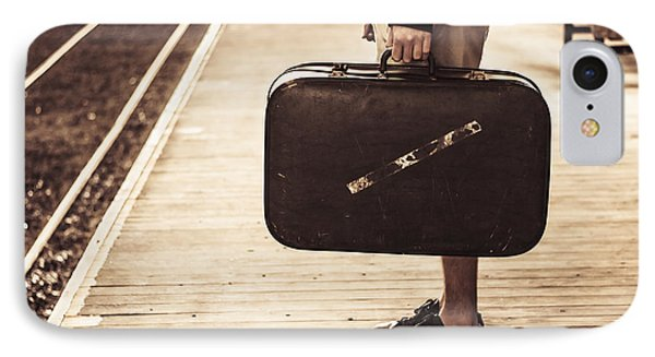 Vintage Man With Old Luggage At Train Station  IPhone Case by Jorgo Photography - Wall Art Gallery