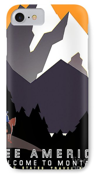 Vintage Montana Travel Poster IPhone Case by Jon Neidert