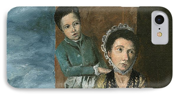 IPhone Case featuring the painting Vintage Mother And Son by Mary Ellen Anderson