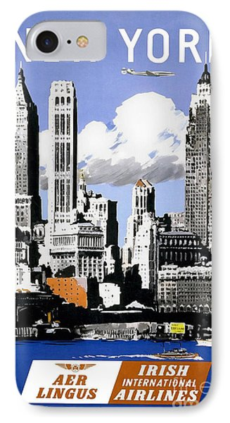 Vintage New York Travel Poster IPhone Case by Jon Neidert
