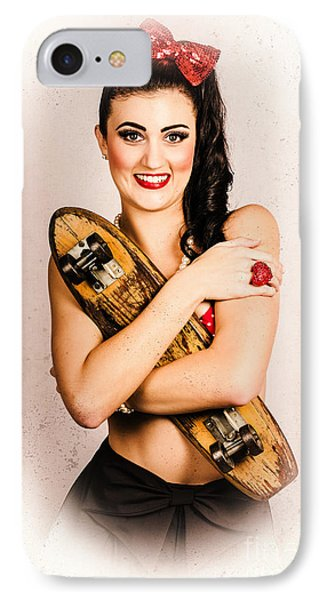Vintage Portrait Of A Pin-up Model With Skateboard IPhone Case by Jorgo Photography - Wall Art Gallery