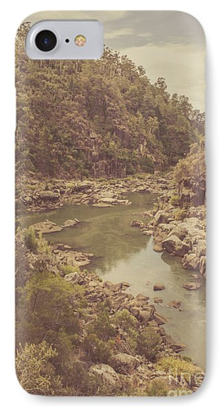 Vintage Rocky Mountain River In Forest Canyon IPhone Case by Jorgo Photography - Wall Art Gallery