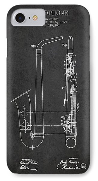 Saxophone Patent Drawing From 1899 - Dark IPhone 7 Case by Aged Pixel