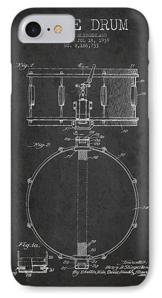 Drum iPhone 7 Case - Snare Drum Patent Drawing From 1939 - Dark by Aged Pixel