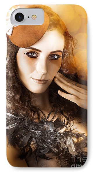 Vintage Style Actress Performing In French Beret IPhone Case by Jorgo Photography - Wall Art Gallery