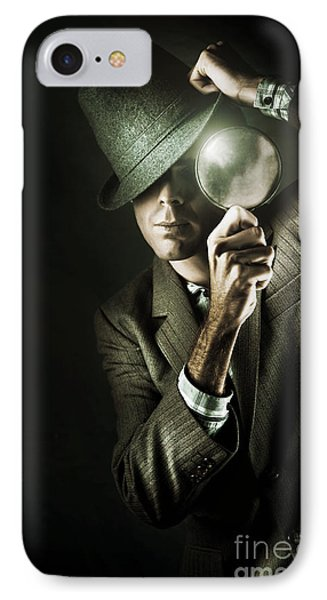Vintage Undercover Spy On Dark Background IPhone Case by Jorgo Photography - Wall Art Gallery