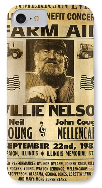 Vintage Willie Nelson 1985 Farm Aid Poster IPhone 7 Case by John Stephens