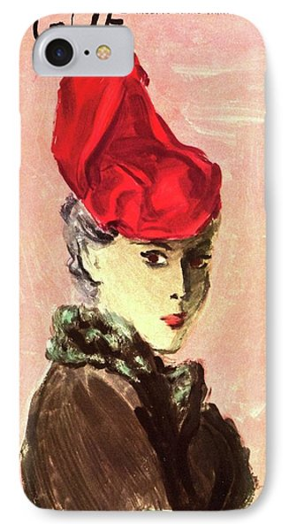 Vogue Cover Illustration Of A Woman Wearing A Red IPhone Case by Carl Eric Erickson