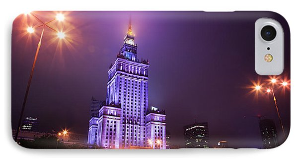 Warsaw Poland Downtown Skyline At Night Phone Case by Michal Bednarek