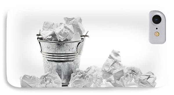 Waste Basket With Crumpled Papers IPhone Case by Shawn Hempel