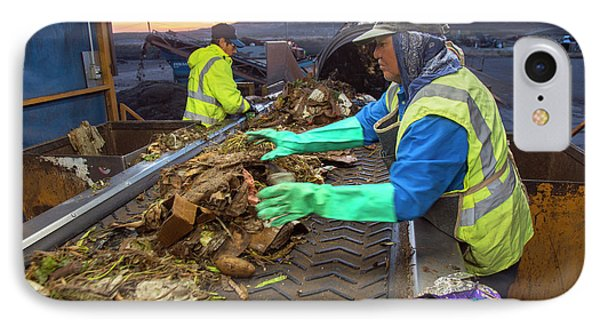 Waste Sorting At Composting Facility IPhone Case by Peter Menzel