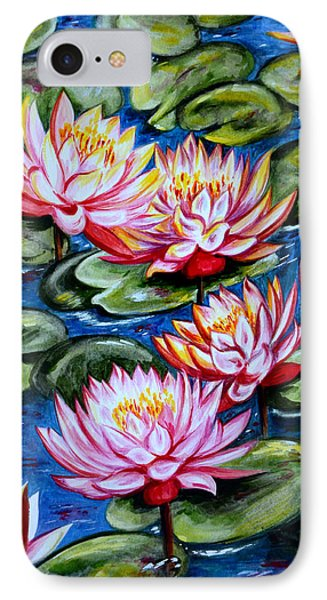 IPhone Case featuring the painting Water Lilies by Harsh Malik