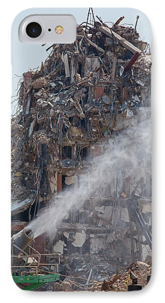 Water Spraying At Demolition Site IPhone Case by Jim West