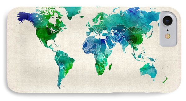 Watercolor Map Of The World Map Phone Case by Michael Tompsett