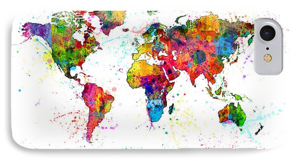 Watercolor Political Map Of The World IPhone Case by Michael Tompsett