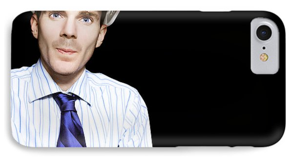 Well Dressed Engineer Isolated On Black Background IPhone Case