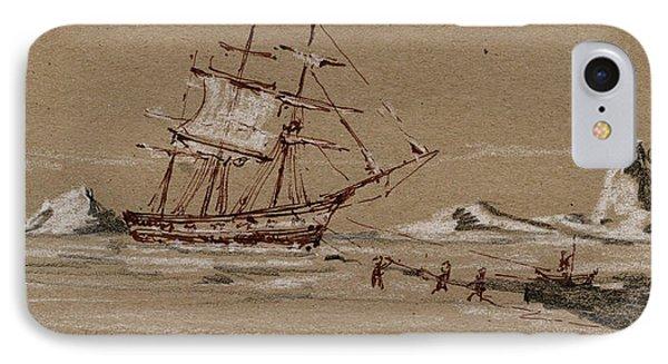 Whaler Ship IPhone Case by Juan  Bosco