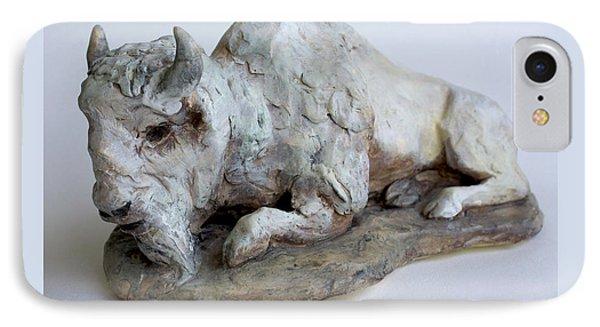 White Buffalo-sculpture Phone Case by Derrick Higgins