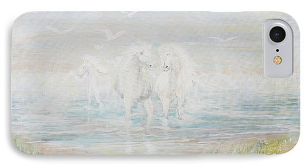 IPhone Case featuring the painting White Horses by Cathy Long