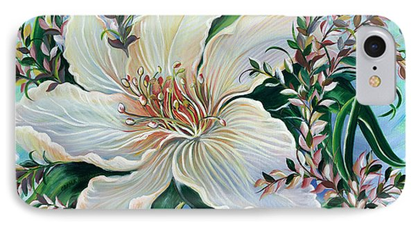 IPhone Case featuring the painting White Lily by Yolanda Rodriguez